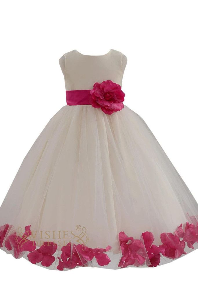 2015 Cute Fuchsia Detail Flower Girl Dresses Am224