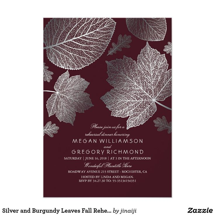 Silver and Burgundy Leaves Fall Rehearsal Dinner Card