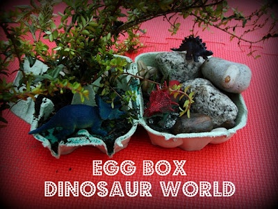 Dinosaur World made from an Egg Box! Lots of opportunity for creative, imaginative & sensory play!: Carton Dinosaurs, Eggs, Fairyland, Play, Egg Cartons, Kids, Preschool Dinosaurs, Egg Boxes, Theme Dinosaurs