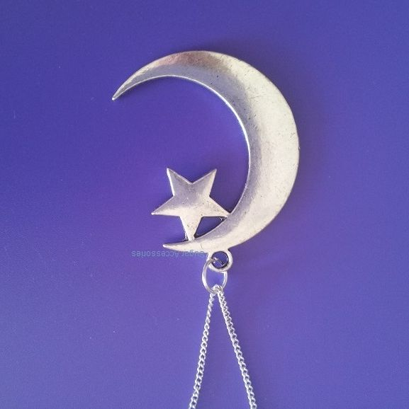 Moon Star Choker Necklace - This hand crafted large Moon Star choker is available on your choice of either a leather or silver chain.
