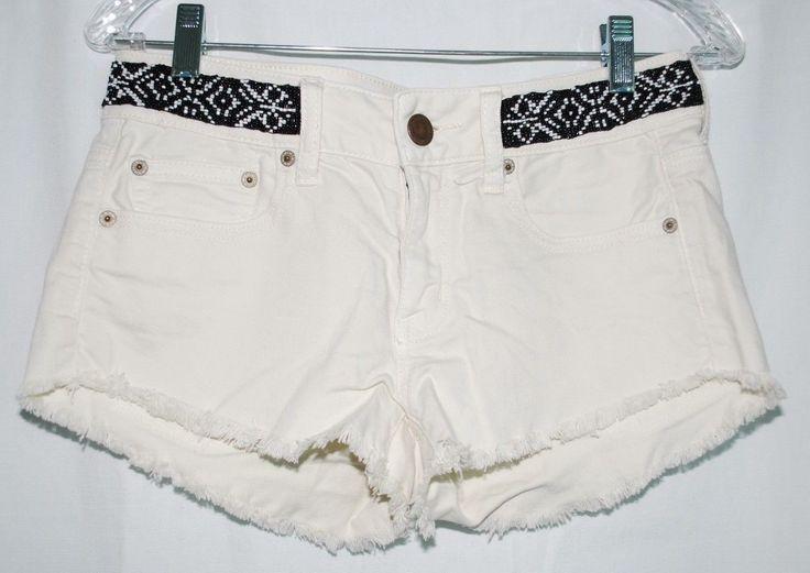 24.70$  Buy now - http://viqby.justgood.pw/vig/item.php?t=un0adm29226 - American Eagle Womens Shorts Cream Denim Daisy Duke Cutoffs Beaded Stretch AE 2 24.70$