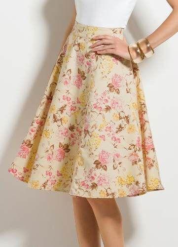 Saia Midi Godê Evasê Floral - Barato!!!! - R$ 215,90