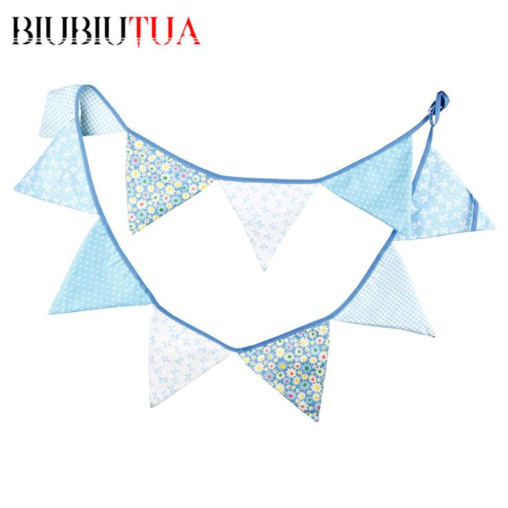 BIUBIUTUA New Colorful Fabric Flags Banners Wedding Decor Bunting Party Garland Decoration