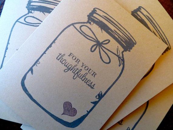 Customizable Kraft Mason Jar Thank You Notes {$6.99} #thankyou #masonjar #cards #etsy #wedding #rustic #thankyounotes