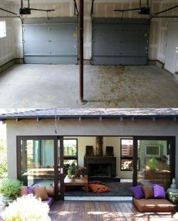 turn garage into living space before and after photos | ... garage space as an additional room by transforming it into a living