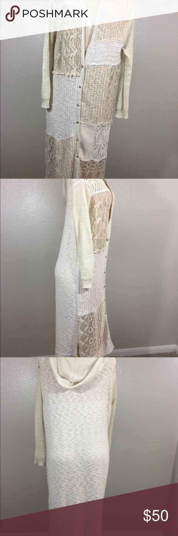 """Free People Women's Hoodie Duster Crochet Hoodie Duster Button Up Good condition no rips no holes no stains (Approximate Measurements Length 43.5 Sleeve 19.5 Waist 20"""" Free People Jackets & Coats"""