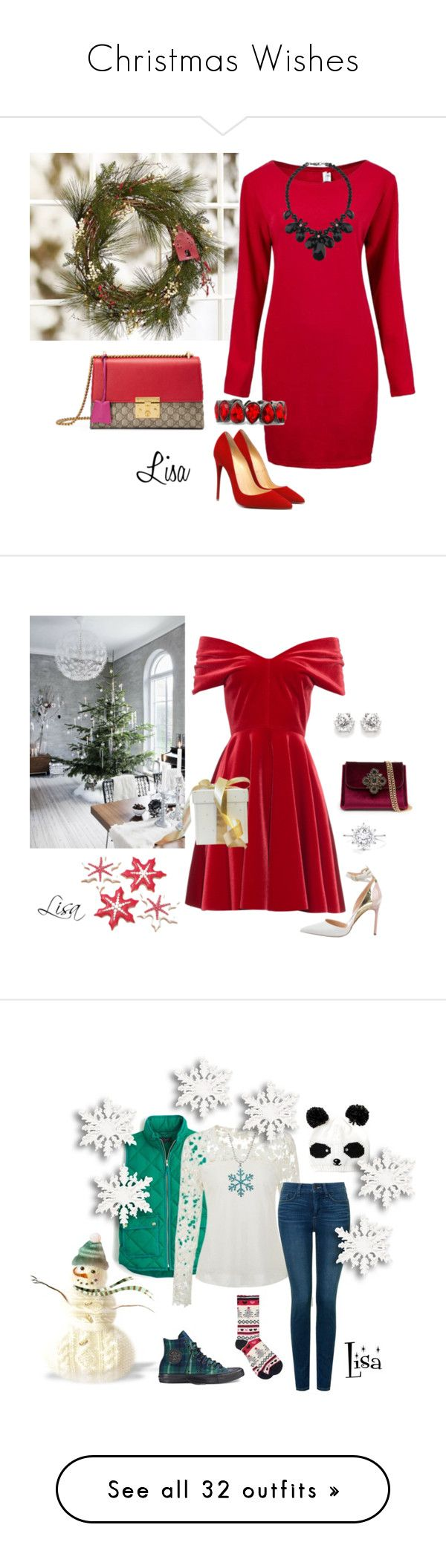 """""""Christmas Wishes"""" by coolmommy44 ❤ liked on Polyvore featuring Pottery Barn, Gucci, Wallis, Emilio De La Morena, Bebe, Manolo Blahnik, J.Crew, NYDJ, Converse and M&Co"""