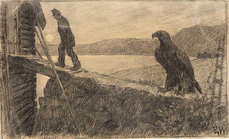 """Erik Werenskiold, """"Borte på låven har jeg liggende to okseskrotter til deg"""", sa soldaten. (1887)"""