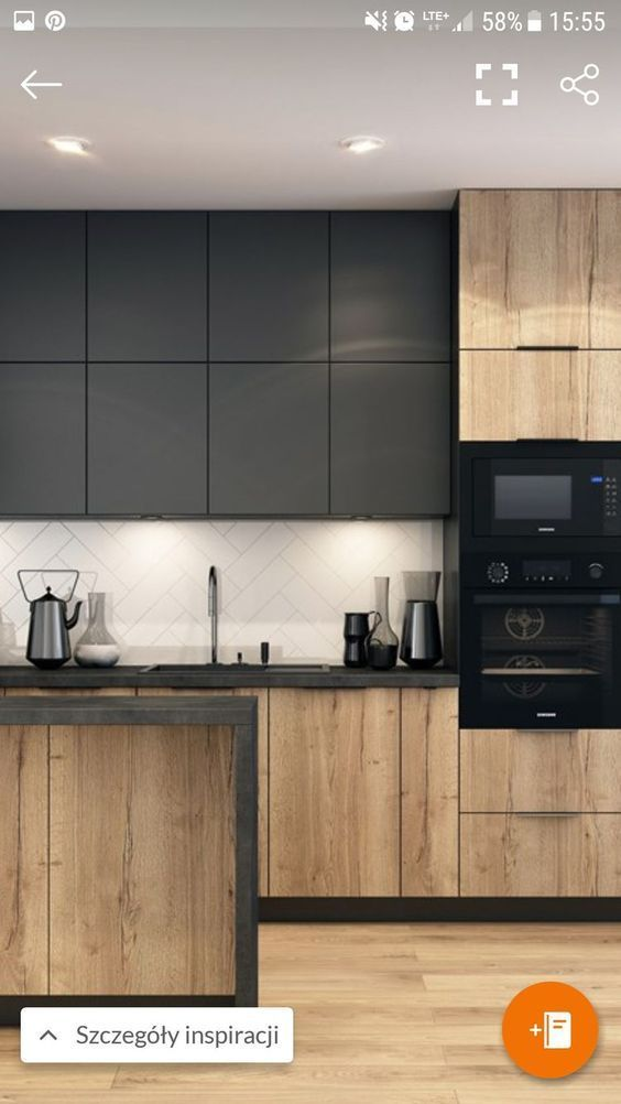 Also like this. Wood, dark countertops, clear spla…