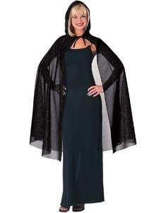 Black Hooded Glitter Costume Cape