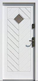 Drzwi zewnętrzne drewniane wzór 543,1 w kolorze białe