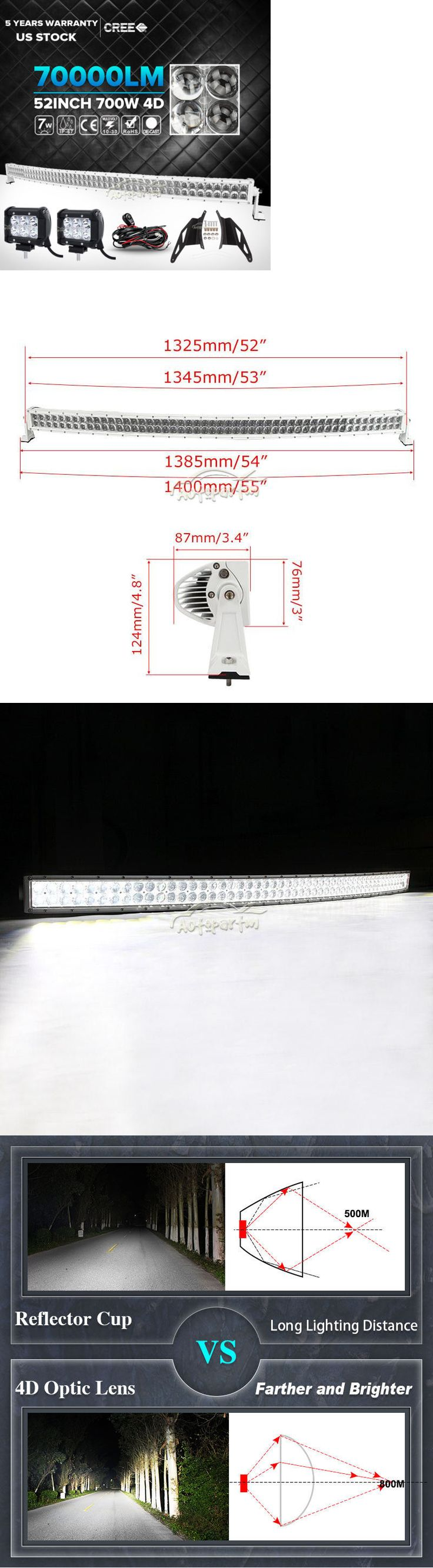 Car Lighting: 4D 52Inch 700W+2X 4 18W Curved Led Light Bar+Mount Brackets Fit Ford F150 White -> BUY IT NOW ONLY: $149.59 on eBay!