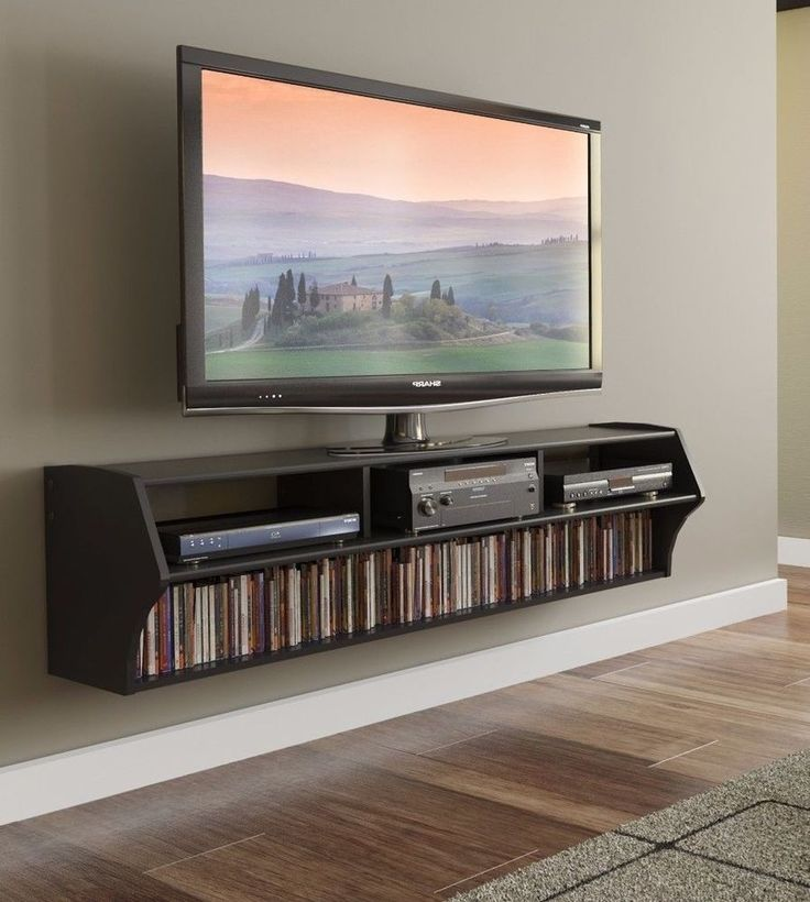 Broadway Altus Plus Black 58 Inch Floating Wall Mount TV Stand With Shelf  New