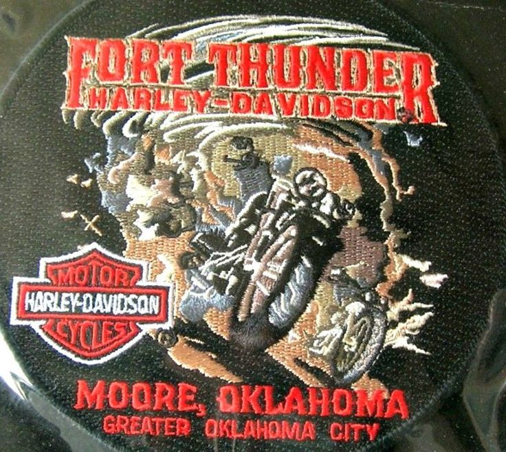 Harley Davidson Patch Moore Oklahoma  Fort Thunder NEW in PKG