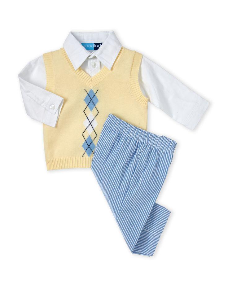 Good Lad (Infant Boys) 3-Piece Argyle Vest & Seersucker Pants Set