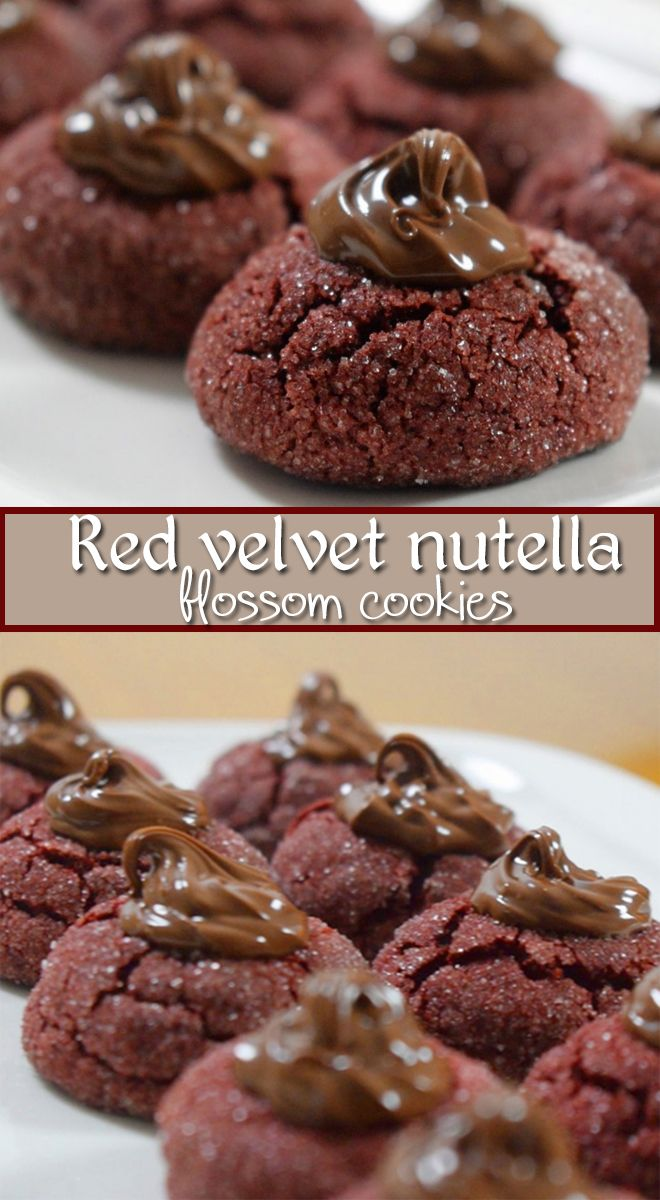 Red velvet nutella blossom cookie - is soft fudgy cacao cookie with crisp sugary coating, perfect combination with nutella.