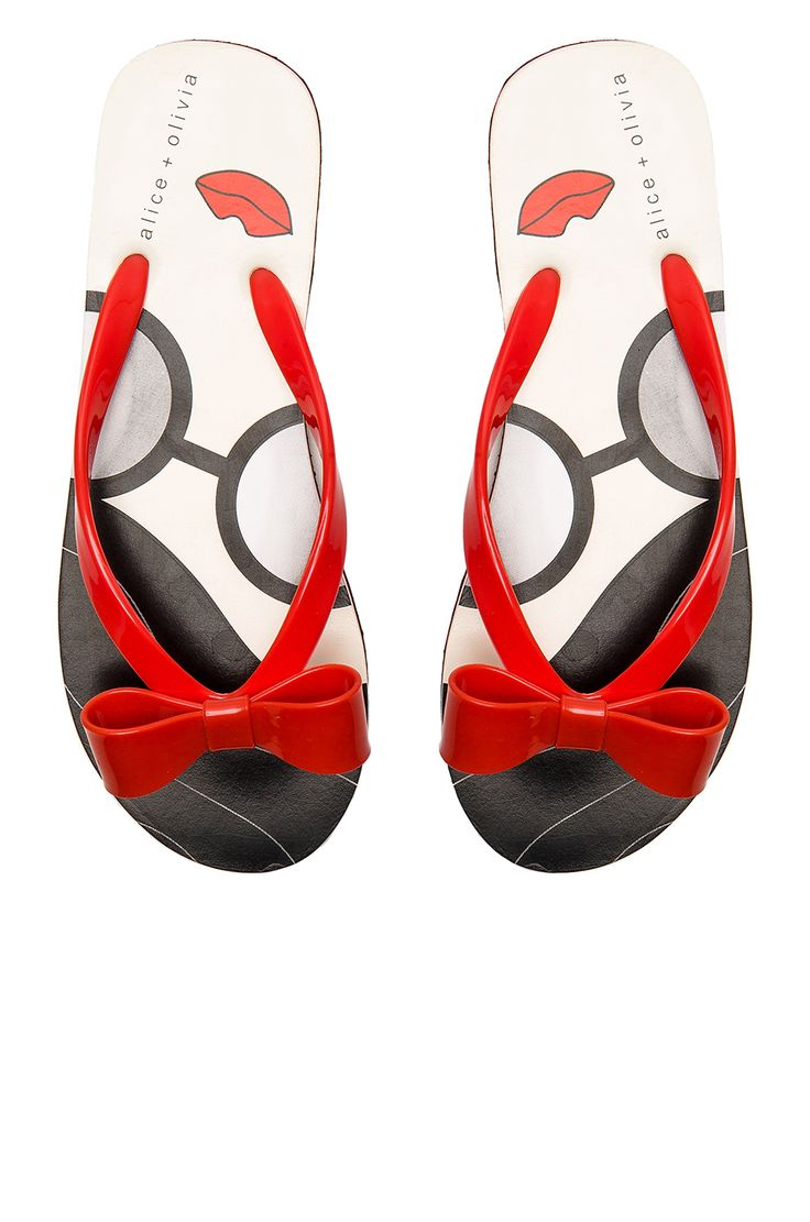 Fun red flip flops with bow