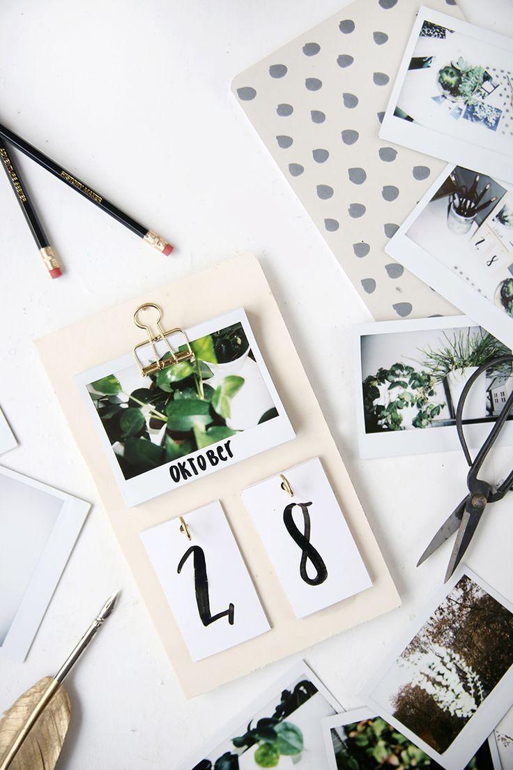 Kreative DIY-Idee: Schreibtisch-Kalender mit Instax-Fotos selbstgemacht