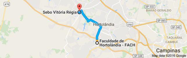 Mapa de Faculdade de Hortolândia - FACH - Avenida Santana, 1070 - Parque Ortolândia, Hortolândia - SP, 13188-000 para Sebo Vitória Régia - Av.7 de Setembro, 1048 - Vila Menuzzo, Sumaré - SP, 13171-505