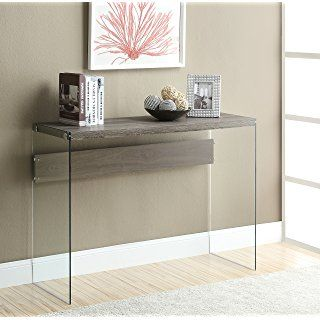 Monarch Specialties Reclaimed-Look/Tempered Glass Sofa Table, Dark Taupe