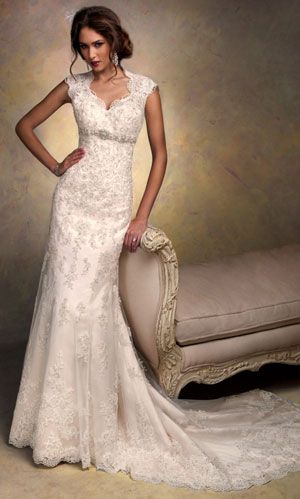 wedding dresses with sleeves. Another in the top 3! She would be stunning in an all lace dress like this one!