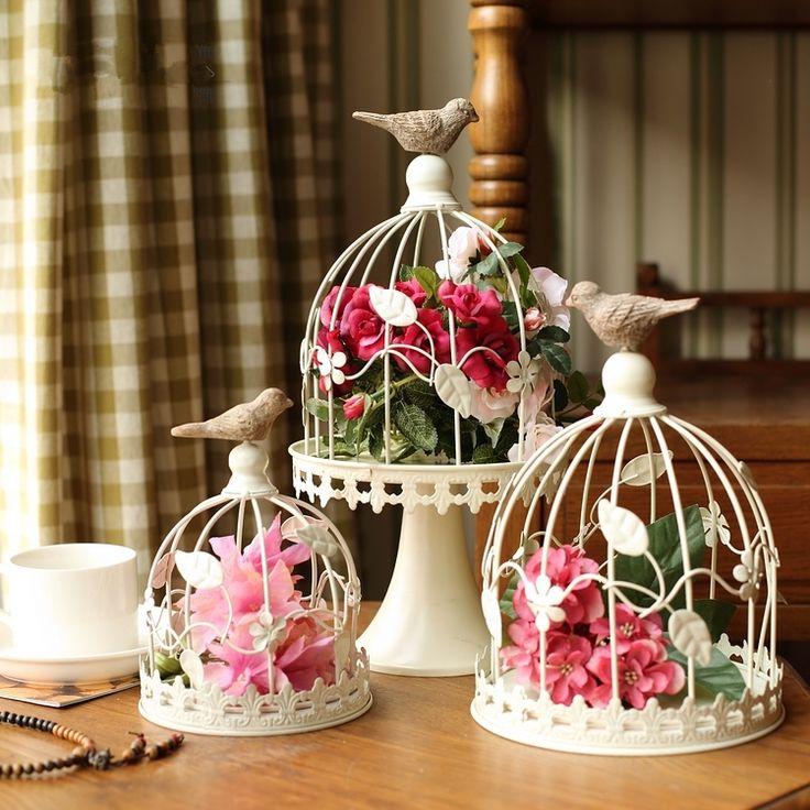 Hand Made Biżuteria Antyczne Ozdobne Klatki Dla Ptaków Klasyczne Żelaza Klatka dla Dekoracji Ślubnych