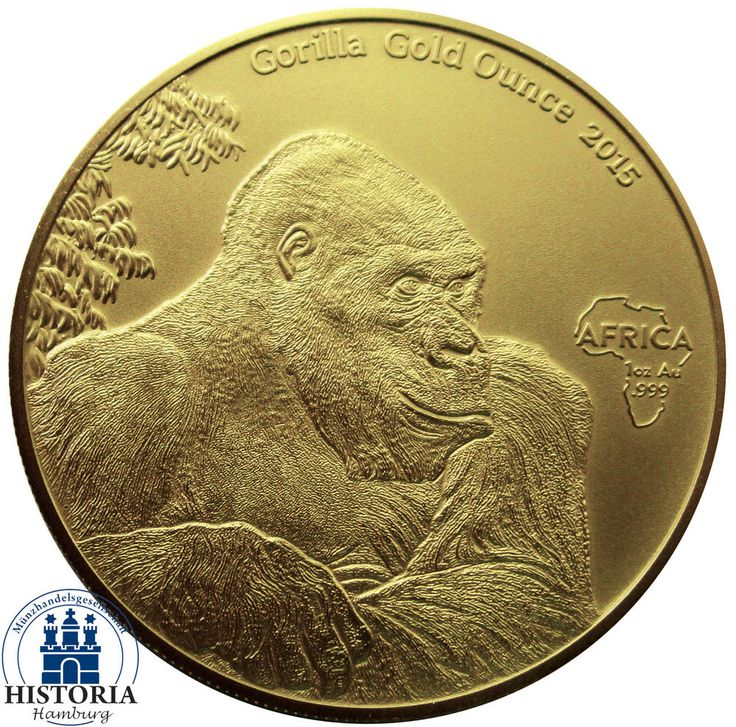 Africa Serie 2015: Kongo 10000 Francs Gorilla Gold Ounces antique finish