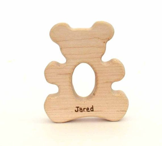 Personalized Organic Baby Teething Toy Teddy Bear by hcwoodcraft, $12.00