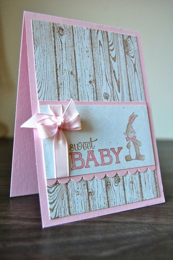 Kids. New Image Of Stampin Up Baby Girl Cards Sayings. Pink Rustic Stampin Up Baby Girl Card With Rabbit And Pink Ribbon.