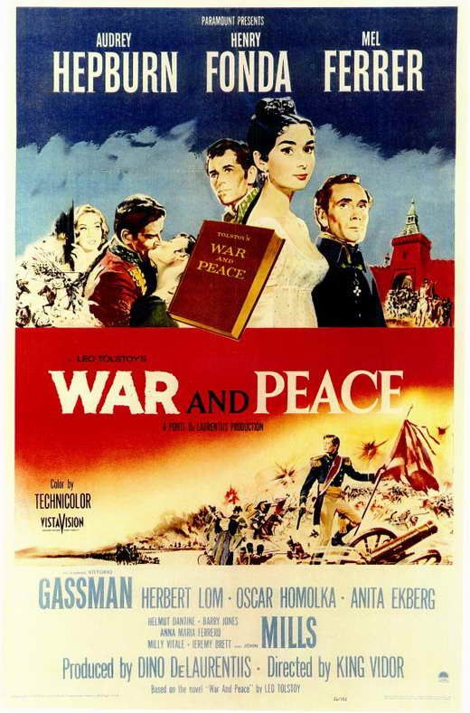 War And Peace (1956) Leo Tolstoy's literary masterpiece comes to life in this epic film classic, featuring the talents of the greatest names from Hollywood's Golden Age. Starring Audrey Hepburn as Nat