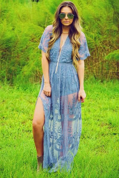 Can't Let Go Romper: Cornflower Blue