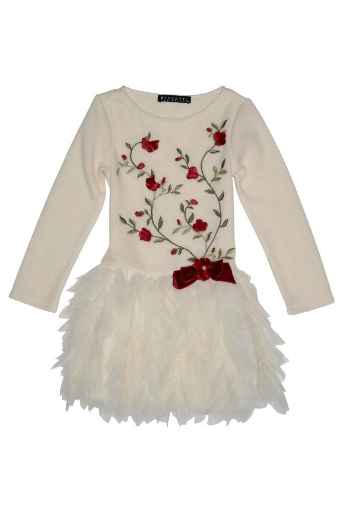AW16 Kate Mack 'Baroque Beauty Ivory Dress With Red Flowers - Liquorice Kids
