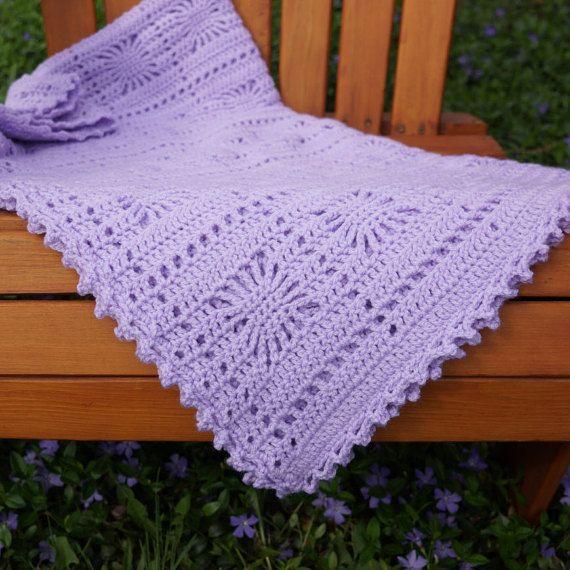 Purple Crochet Blanket, crochet baby blanket, lavender ...