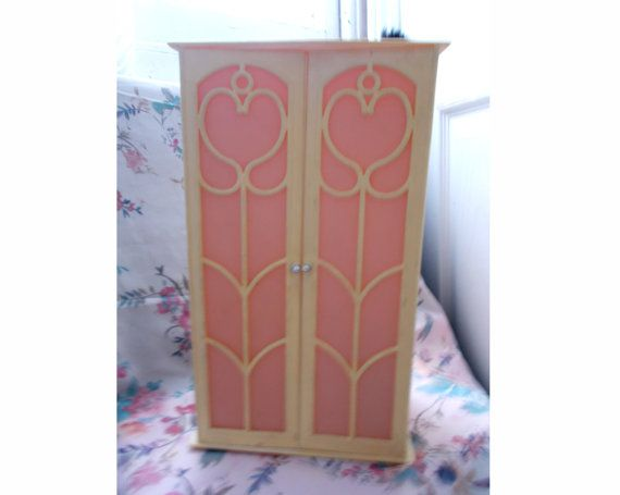 Vintage  1970s Sindy Doll Wardrobe with Pink Window Doors in great condition
