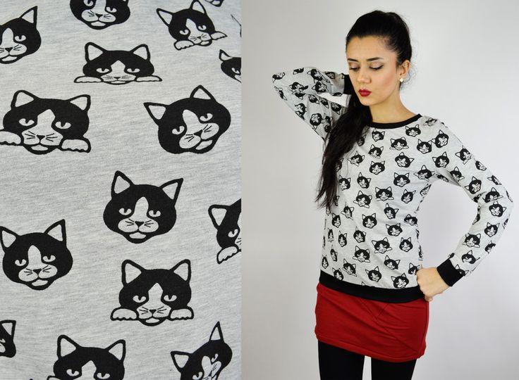 Sweatshirts - Pullover Katze Baumwolle - ein Designerstück von JAQUEEN-handmade-streetwear-berlin bei DaWanda