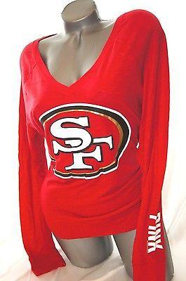 MED~VICTORIA SECRET PINK FOOTBALL T SHIRT SAN FRANCISCO 49ER'S BABY
