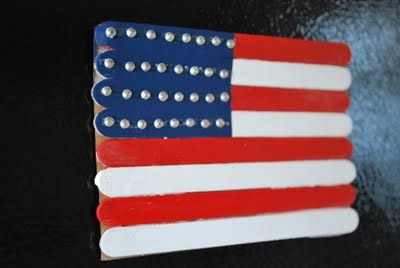 "Popsicle Stick Flags (modify, glue stick for ""pole"" and let kids decorate garden with art work) 4th of july"