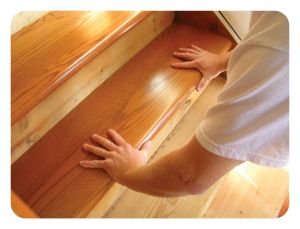StareCasing - solid hardwood overlay to dress up shoddy or worn stairs.