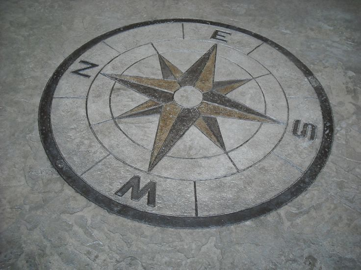 Compass Rose In Stamped Concrete For The Patio Or Porch