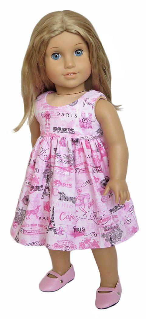 American Girl Doll Clothes Outfit. Pink Paris Dress.