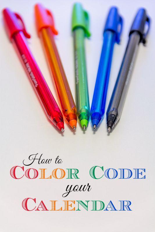 Family Calendar Organization Tips: Color Code your Calendar