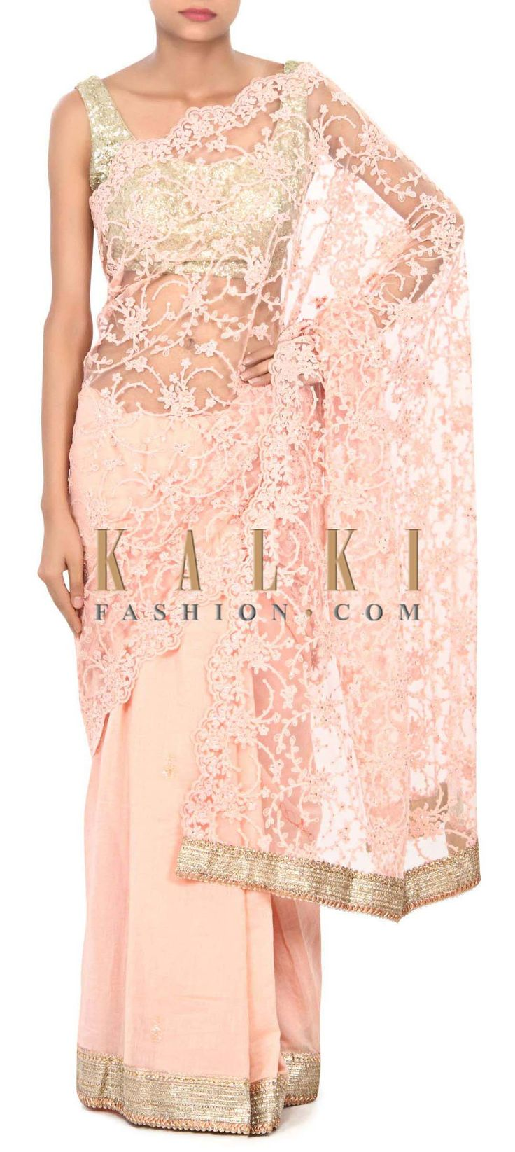 Buy Online from the link below. We ship worldwide (Free Shipping over US$100) Price-$279 Click Anywhere to Tag http://www.kalkifashion.com/pink-saree-with-thread-embroidered-pallav-only-on-kalki.html