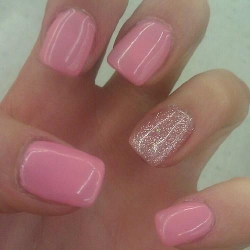 shellac nails   Cute shellac nails   Nails I like this.  Ring finger glittery to set off engagement ring::other fingers painted to match wedding color theme.