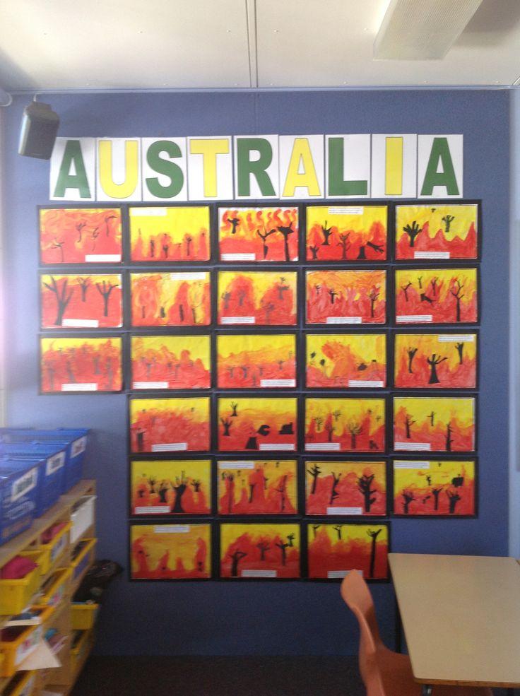 Australia bushfire artworks  Hastings Public School NSW- 4B 2013