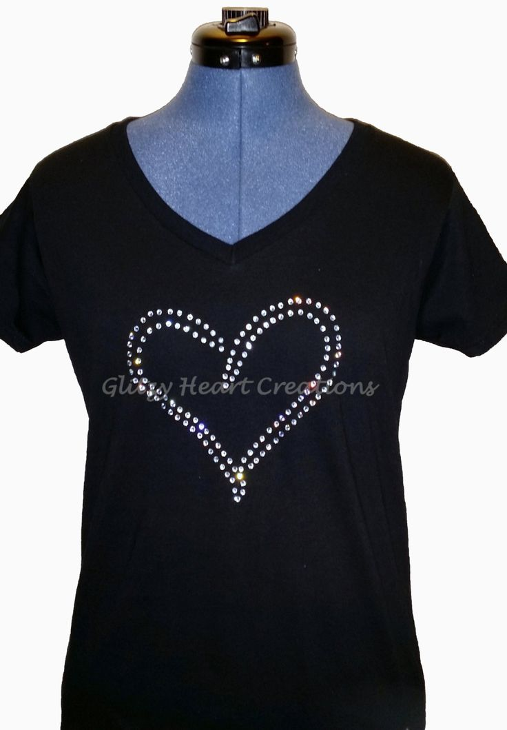 Rhinestone T-shirt - Doubleline Heart Design, Women's Tee -Crystal Decorated Shirt by GlitzyHeartCreations on Etsy