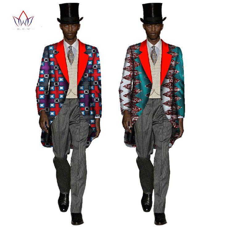 African Men Clothes Blazer Masculino Slim Fit Long Sleeve Full Length Steampunk Swallowtail Dahiki Men Tops Plus Size 6XL WYN80