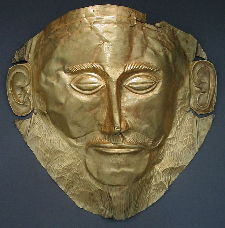 "MYCENAEAN. Funeral mask also known as ""Agamemnon Mask"". Gold, found in Tomb V in Mycenae by Heinrich Schliemann (1876), XVIth century BC. National Archeological Museum, Athens"