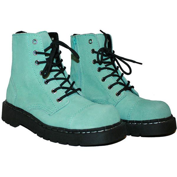 Sale! Mint Green Suede TUK Boots Size US 8 UK 6 90's Grunge ($60) ❤ liked on Polyvore featuring shoes, boots, ankle booties, sapatos, t u k boots, mint green boots, pattern boots, suede ankle booties and mint boots