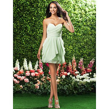 Bridesmaid Dress Short/Mini Chiffon Sheath/Column Strapless/Sweetheart Dress – AUD $ 82.79