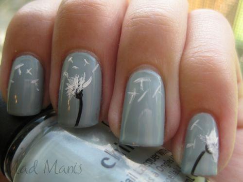 Make a wish...: Makeawish, Nails Art, Nailart, Cute Nails, Nails Design, Makeup, Nails Ideas, Dandelions Nails, Flowers Nails